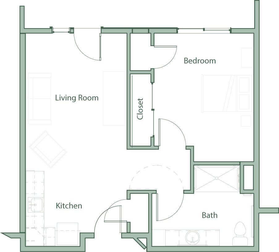 The kyle canyon one bedroom 563 square feet sample for Living room square feet